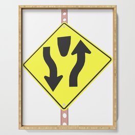 """""""Divided highway"""" - 3d illustration of yellow roadsign isolated on white background Serving Tray"""