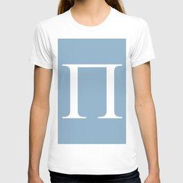Greek letter Pi sign on placid blue background T-shirt