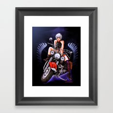 Motorcycle pinup Framed Art Print