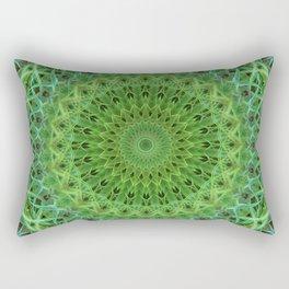 Mandala with light and dark green ornaments Rectangular Pillow