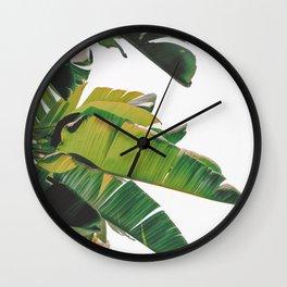 Banana Leaves IV {White} Wall Clock