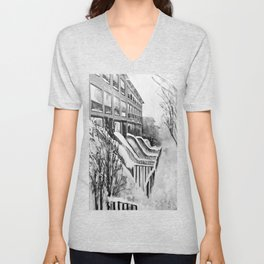 Brooklyn New York in Snow Storm Black and White Unisex V-Neck