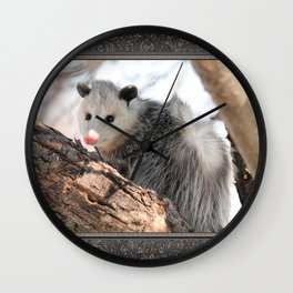North American Opossum in Winter Wall Clock