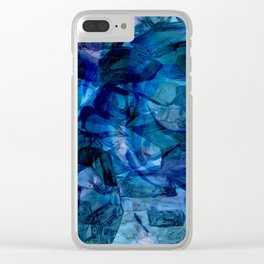 Blue Chrystal Ice Abstract Clear iPhone Case
