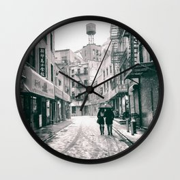 New York City - Snowy Afternoon - Chinatown Wall Clock