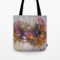 playstation Tote Bags featuring Pinkpurple Playstation Catrabbit - Gamepad Series by Kid Doom