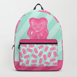 Pink Gummi Bear on Mint Background Backpack