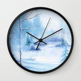 Winter Landscape Frozen Pond Wall Clock