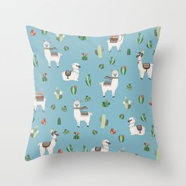 Lama and cactus pattern Throw Pillow
