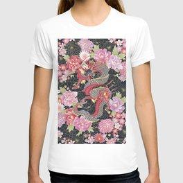 JAPANESE DRAGON & FLORAL KIMONO PRINT T-shirt