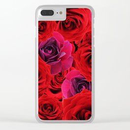 Deep Red and Purple Roses Clear iPhone Case
