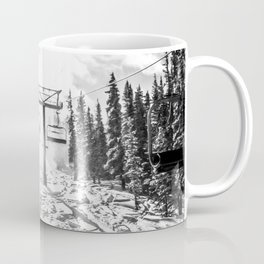 Powder on the Hill // Black and White Skilift Shot on a Deep Snowday Coffee Mug