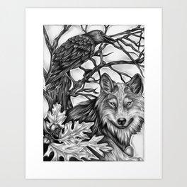 Wolf and Crow Art Print