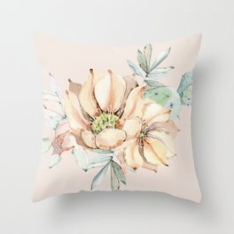 Country Cactus Coral Roses Throw Pillow