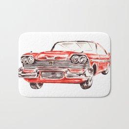 Watercolor Red Classic Car Bath Mat