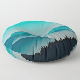 Rise above the mist. Turquoise Floor Pillow