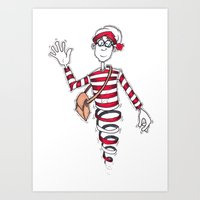 waldo Art Prints featuring Waldo by Lady Catton