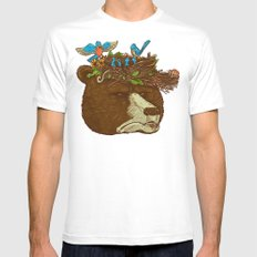 Mr Bear's Nature Hat Mens Fitted Tee White MEDIUM