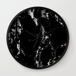 Black and Silver Marble Pattern Design Wall Clock