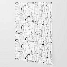 Kitchen essentials in black and white Wallpaper