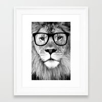 Framed Art Prints featuring Hippest Lion with glasses - Black and white photograph by Allyson Johnson