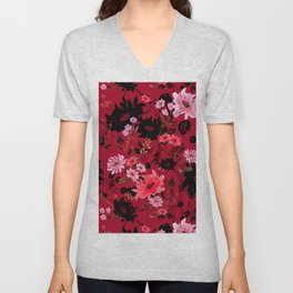 Pink Watercolor Floral Unisex V-Neck