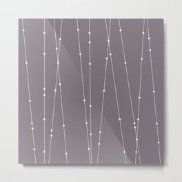 Contemporary Intersecting Vertical Lines in Aubergine Metal Print