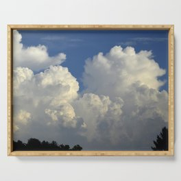 Billowing White Clouds Brilliant Blue Sky Serving Tray