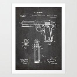 Colt Pistol Patent - Browning 1911 Colt Art - Black Chalkboard Art Print