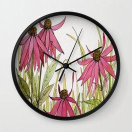 Pink Garden Flower Coneflower Wall Clock