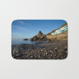 Meadfoot Beach Huts And Imposing Cliffs Bath Mat