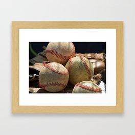 Baseballs and Glove Framed Art Print