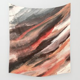 Moving Mountains: an abstract mixed media piece in contrasting pinks, purples, blues, and whites Wall Tapestry