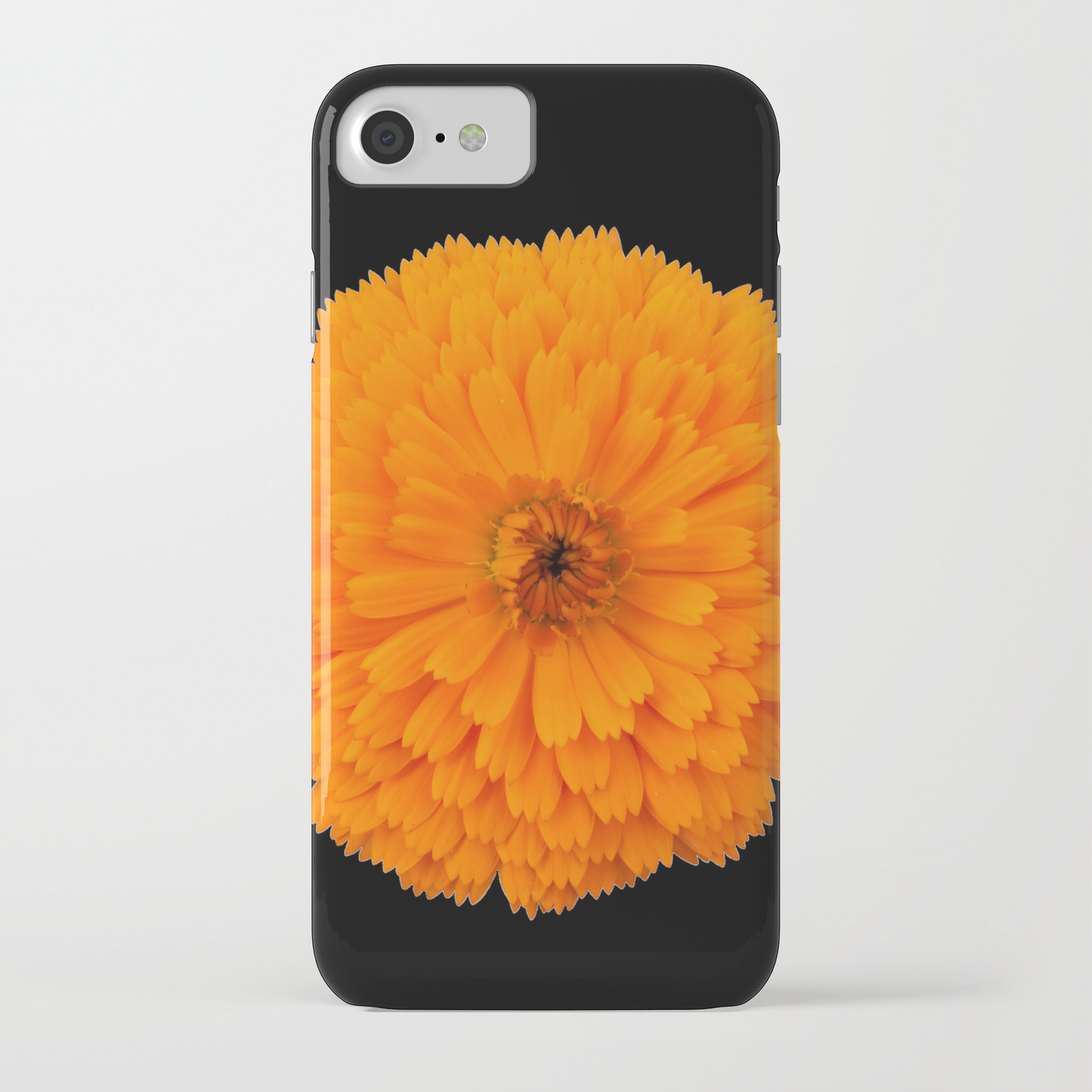 separation shoes 73522 3dd7a marigold flower on black background iPhone Case