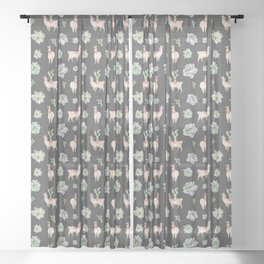 Cute Llamas & Amaryllis Floral Pattern Sheer Curtain