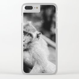 Cute Monkey (Black and White) Clear iPhone Case