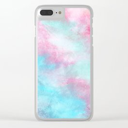 Artistic pastel girly pink teal trendy watercolor Clear iPhone Case