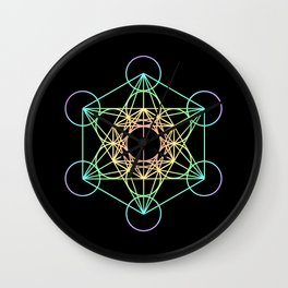 Metatron's Cube- Rainbow on Black Wall Clock