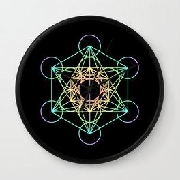 Metatron's Cube- Rainbow on Black Wall Clock