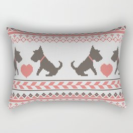 Knitted New Year 2018 retro pattern with dogs Rectangular Pillow