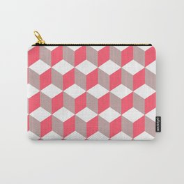 Diamond Repeating Pattern In Poppy and Soft Grey Carry-All Pouch