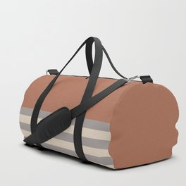 Slate Violet Gray SW9155 and Creamy Off White SW7012 Horizontal Stripes on Cavern Clay SW 7701 Duffle Bag