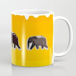 Elephants walking in the savanah Coffee Mug
