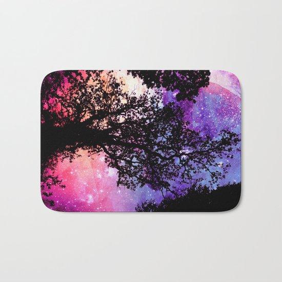Black Trees Pink Purple Space Bath Mat
