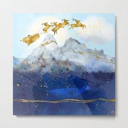 Santa Claus & His Reindeer over the North Pole Metal Print
