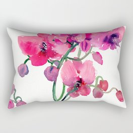 Pink Orchids, orchi design floral bright pink Rectangular Pillow