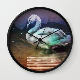 Midnight Swan Wall Clock