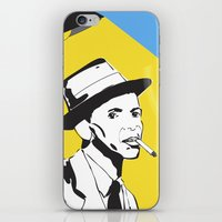 frank sinatra iPhone & iPod Skins featuring Retro Illustration of Frank Sinatra by Eve Weiner