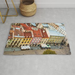 the rooftops of the city Rug