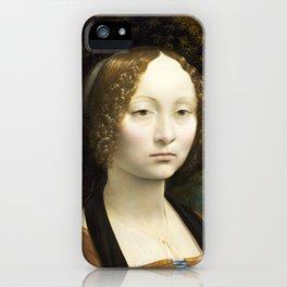 Leonardo da Vinci, Portrait of Ginevra Benci, 1474 iPhone Case